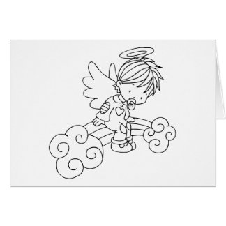 Color Me Angel Baby Sitting on Rainbow Greeting Card