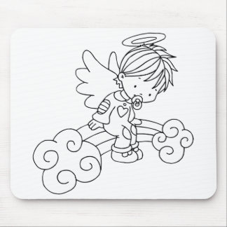 Color Me Angel Baby Sitting on Rainbow Mouse Pads