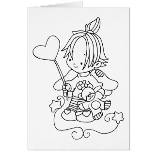 Color Me Angel Baby with Heart Greeting Card