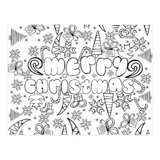 """""""Color me"""" anti stress """"Merry Christmas"""" card"""