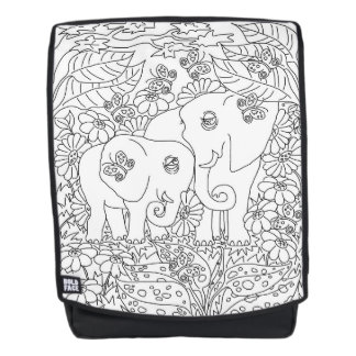 Color Me Cute Elephants Daisies Butterfly Backpack