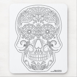 Color Me Day of the Dead Sugar Skull Zen Art Mouse Pad