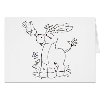 Color Me Donkey and Bird Stationery Note Card