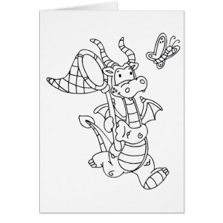 Color Me Dragon and Butterfly Net Stationery Note Card
