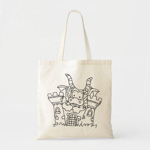 Color Me Dragon and Castle Canvas Bag