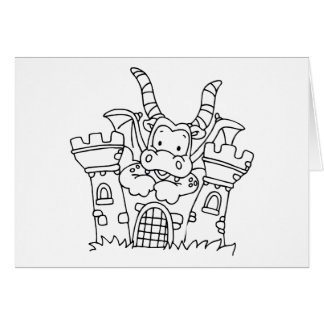 Color Me Dragon and Castle Stationery Note Card