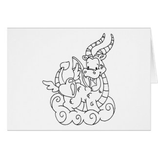 Color Me Dragon Heart Stationery Note Card