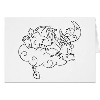 Color Me Dragon Sleeping on Cloud Stationery Note Card