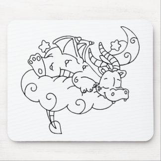 Color Me Dragon Sleeping on Cloud Mousepads