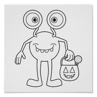 Color Me: Fun, Halloween Monster with Big Eyes Posters