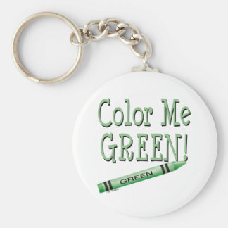 Color me green basic round button keychain