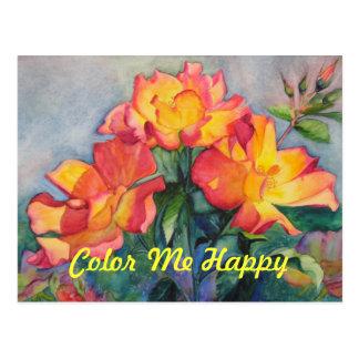Color Me Happy birthday invitation postcard
