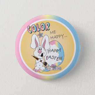 Color Me Happy Easter Bunny Pinback Button