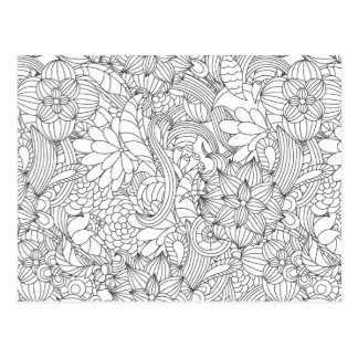 Color Me In B4 Giving Floral•Custom Postcard
