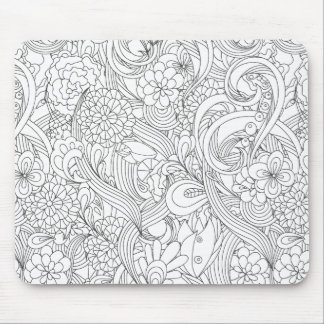 Color Me In•Camellia Flower Pattern Mouse Pad