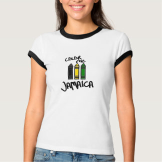 Color Me Jamaica--Black, Yellow, and Green Crayons T-Shirt