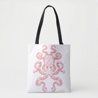 Color Me Octopus Red Nautical Zen Doodle Art Tote Bag