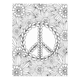 Color Me - Peace and Flowers (#0015) Postcard