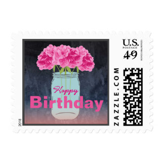 Color Me Pink Birthday Postage Stamps