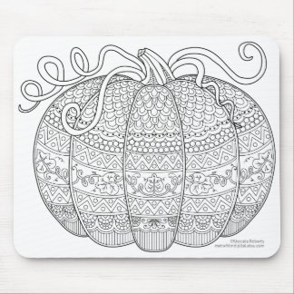 Color Me Pumpkin Halloween Zen Doodle Illustration Mouse Pad