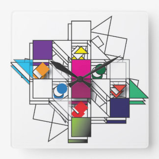 Color Me Shapes Square Wall Clock