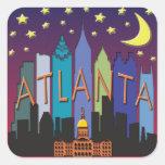 Color mega del horizonte de Atlanta Pegatina Cuadrada