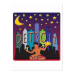 Color mega del horizonte de Detroit Postales
