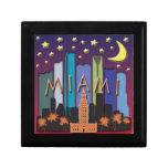 Color mega del horizonte de Miami Caja De Recuerdo