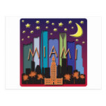 Color mega del horizonte de Miami Postales