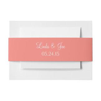 Color moderno rosado coralino hecho juego cintas para invitaciones