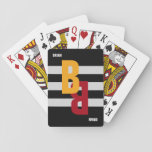 "color monogram ( initial &amp; name) on striped playing cards<br><div class=""desc"">A simple and modern monogrammed design (name and initial) with big and bold color letters on a black background with three white stripes</div>"