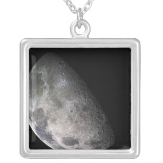 Color mosaic of the Earth's moon Silver Plated Necklace