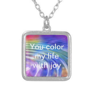 Color my life world with joy silver plated necklace