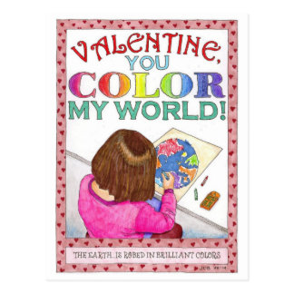 Color My World Valentine Post Card