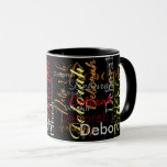 """color name pattern on black mug<br><div class=""""desc"""">Add your special name to the template to create a cool black mug...  the name you write turns into a beautiful pattern of different font styles and colors</div>"""