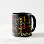 "color name pattern on black mug<br><div class=""desc"">Add your special name to the template to create a cool black mug...  the name you write turns into a beautiful pattern of different font styles and colors</div>"