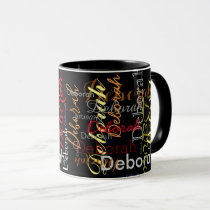 color name pattern on black mug