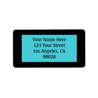 color negro de la turquesa etiquetas de dirección