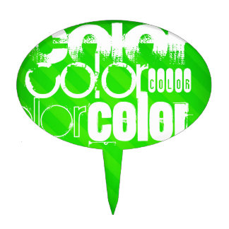 Color; Neon Green Stripes Cake Pick