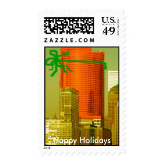 color new york skyline2, Happy Holidays Stamps