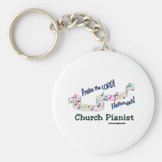 Color Notes Pianist Basic Round Button Keychain