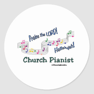 Color Notes Pianist Classic Round Sticker