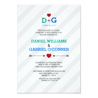 Color of Love Playful Monograms Wedding Invitation
