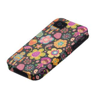 Color oscuro dibujado mano linda colorida del mode iPhone 4 fundas