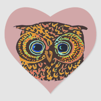 color owl heart sticker