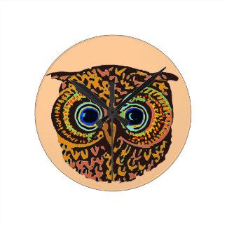 color owl round clock
