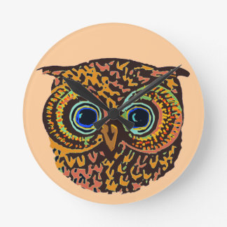 color owl round wallclock