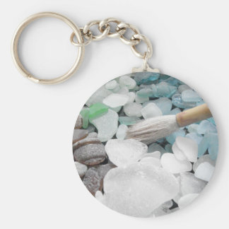 Color Paint Sea Glass Basic Round Button Keychain