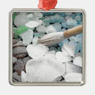 Color Paint Sea Glass Metal Ornament