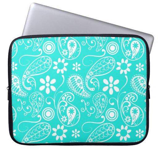 Color Paisley de la aguamarina; Floral Mangas Portátiles
